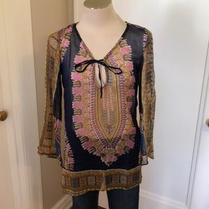 Ling sheer tunic multi color top size s
